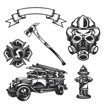 Set of firefighter elements (axe, car, ribbon, firefighter, emblem, fire truck, hydrant)