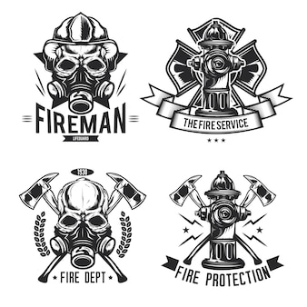 Set of firefighter elements emblems, labels, badges, logos.