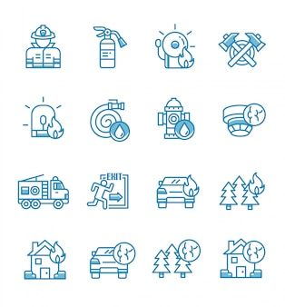 Set of firefighter icons with outline style.