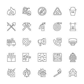 Set of firefighter line icons. fireman, evacuation plan, hydrant and more.
