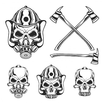 Set of firefighter skulls