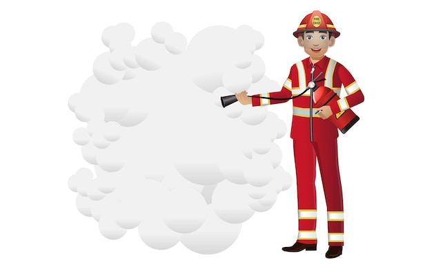 Set of firefighter with different poses