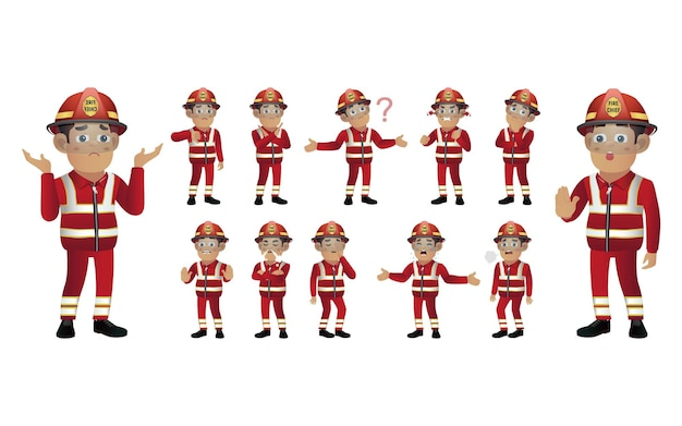 Set of fireman with different emotion