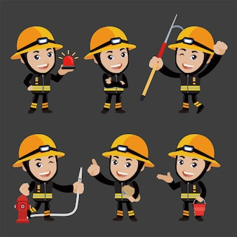 Set of fireman with different poses