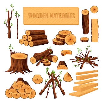 Set of firewood materials for lumber industry isolated on white background. collection of wood logs stubs tree trunk branches boards. stump and planks wooden in sawmill.