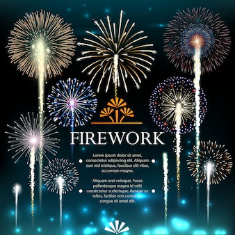 Set of fireworks, festive banner, invitation to a holiday. illustration
