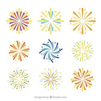 Set of fireworks in flat design for celebration
