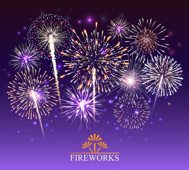 Set of fireworks  illustration