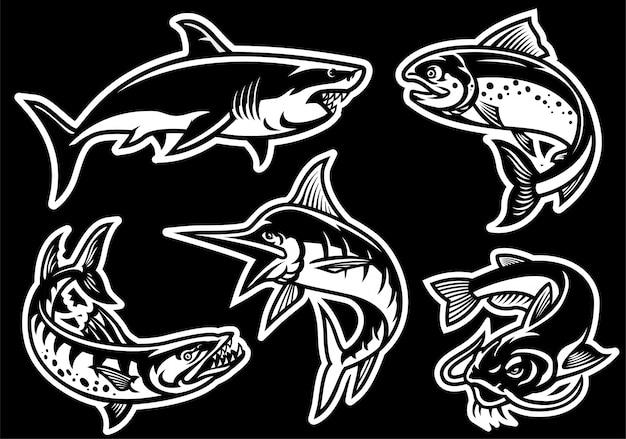 Set of fish collection in black and white style