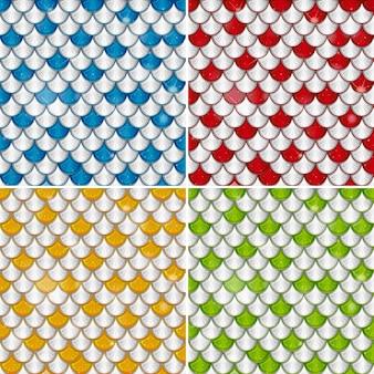 Set of fish scale seamless pattern background