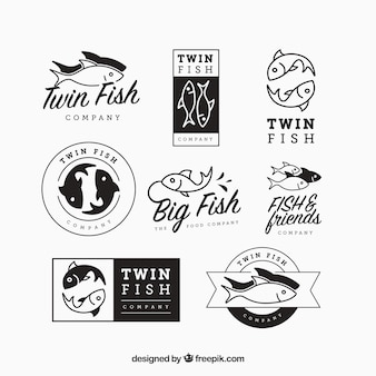 Set of fishes logos for companies