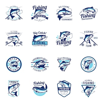 Set of fishing badge emblem collection