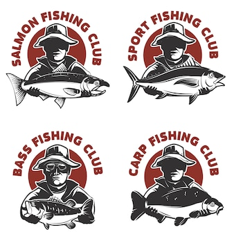 Set of fishing club labels templates. fisherman silhouette with fish.  elements for , emblem, sign, brand mark.  illustration.