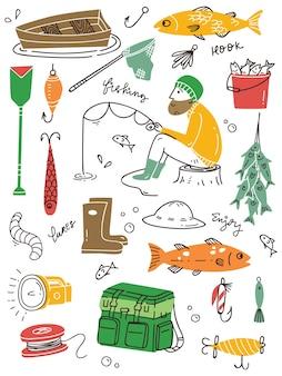 Set of fishing doodle