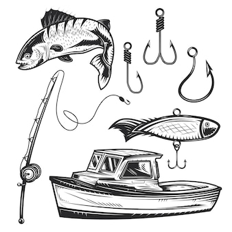 Set of fishing elements for creating your own badges, logos, labels, posters etc.