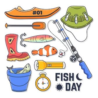 Set of fishing elements illustration