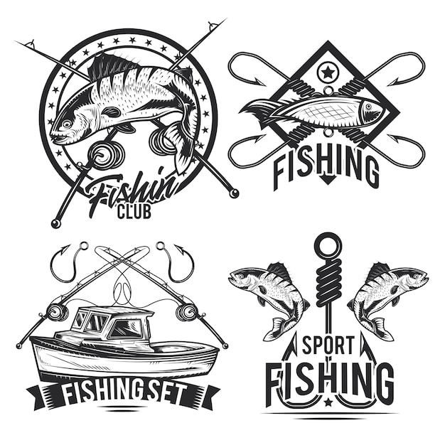 Set of fishing emblems, labels, badges, logos.