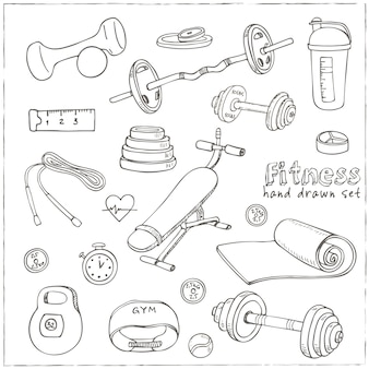 Set of fitness bodybuilding diet and health care sketch icons
