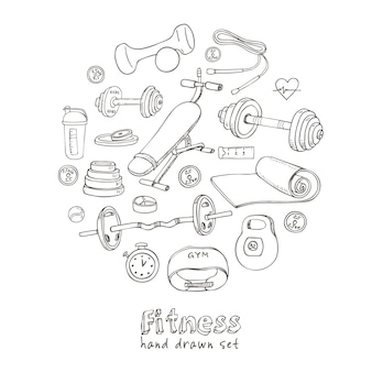 Set of fitness bodybuilding diet and health care sketch icons.