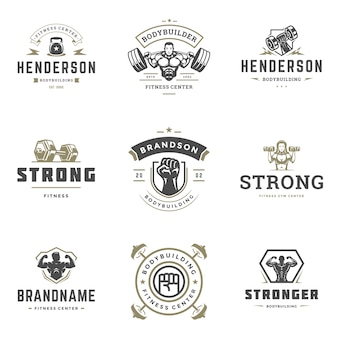 Set of fitness center and sport gym logos