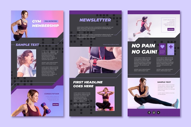 Set of fitness email templates