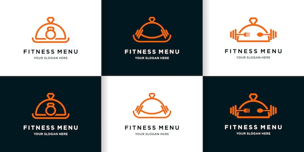 Set of fitness food menu logo design with line style