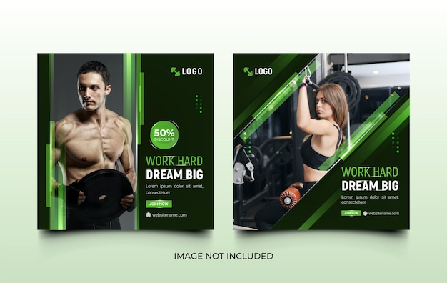 Set of fitness gym social media templates