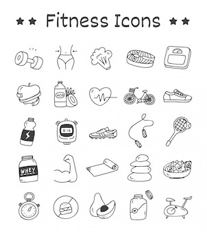 Set of fitness icons in doodle style