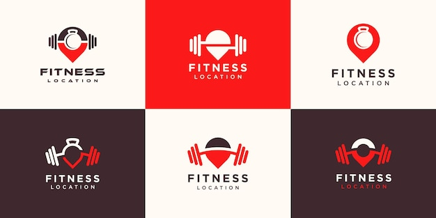 Set of fitness location logos.