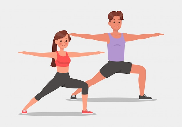 Set of fitness man and woman doing yoga character