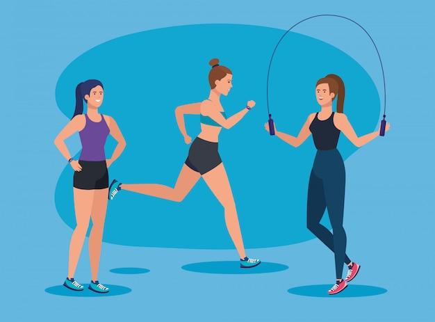Set of fitness women practice sport activity