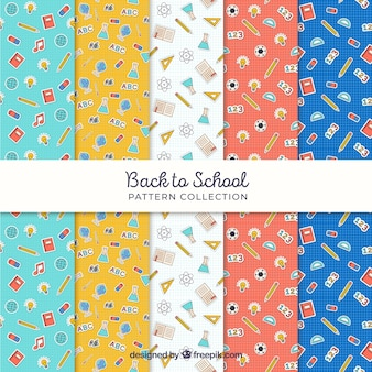 Set of five back to school patterns
