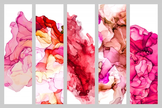 Set of five bookmarks decorated with liquid watercolor texture