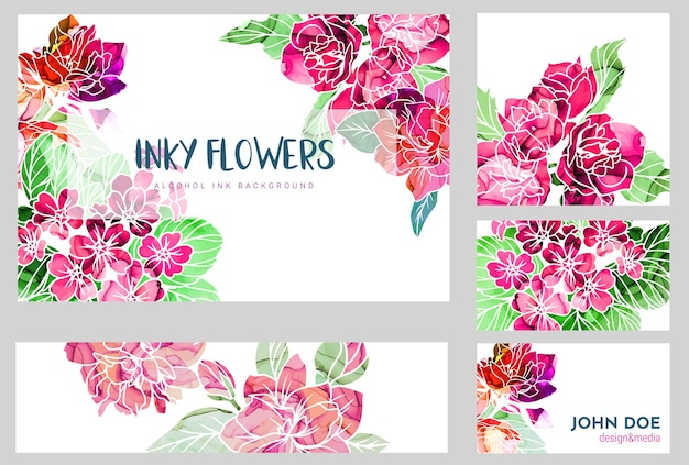 Set of five business cards decorated with hand drawn flowers with alcohol ink texture