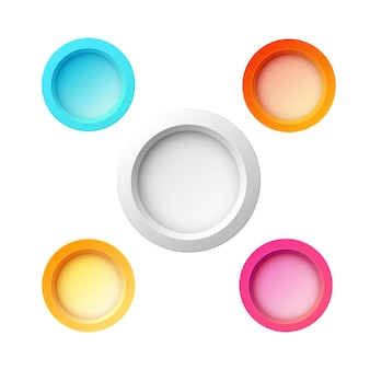 Set of five colorful round buttons for website, internet or applications with different colors and sizes