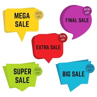 Set of five colorful sale stickers with text. sale label template. vector illustration