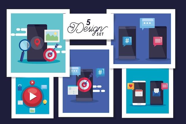 Set of five designs social media icons