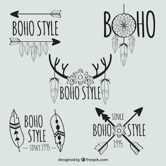 Set of five hand-drawn logos with feathers and arrows
