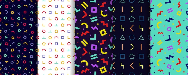 Set of five memphis seamless patterns