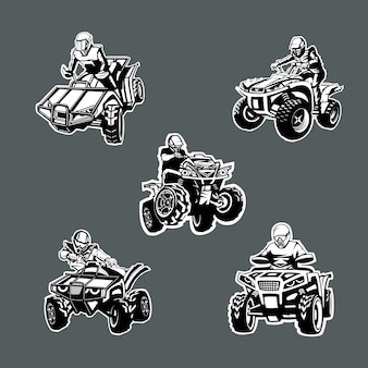 Set of five one color quad bikes in different angles on dark background.