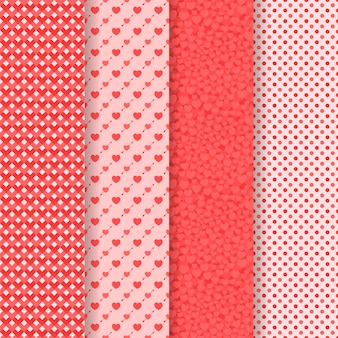 Set of five seamless patterns. valentine`s day. hearts, arrows, geometric, dots.
