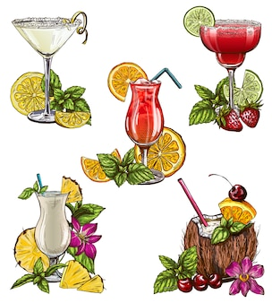 Set of five summer cocktails