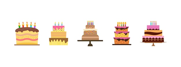 Set of five sweet birthday cakes with burning candles. colorful holiday dessert. vector illustration