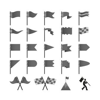 Set of flag elements isolated on white,
