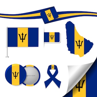 Set of flag elements with barbados