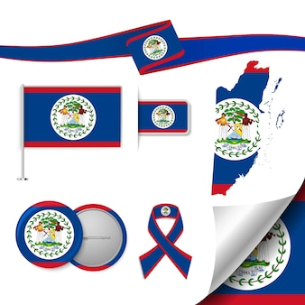 Set of flag elements with belize