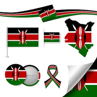 Set of flag elements with kenya