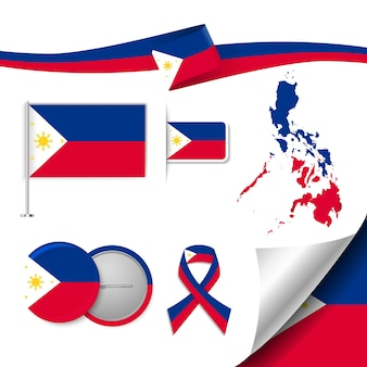 Set of flag elements with philippines
