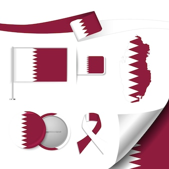 Set of flag elements with qatar