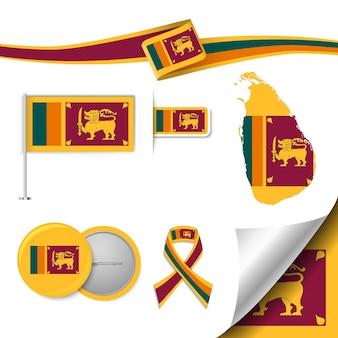 Set of flag elements with sri lanka